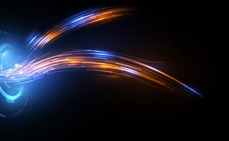 Línea de conexión en el concepto de telecomunicaciones de redes de fibra óptica antecedentes Ilustración de vector
