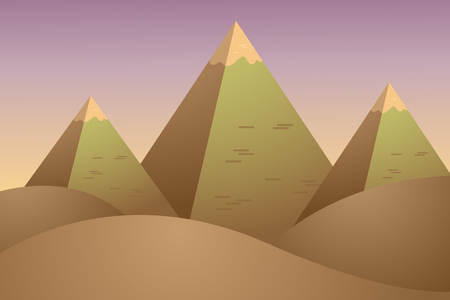 desert landscape with Egypt pyramids. vector background illustration
