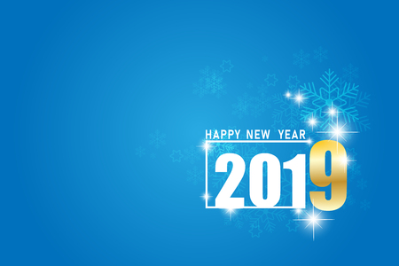 Happy New Year 2019 line design.  vector illustration