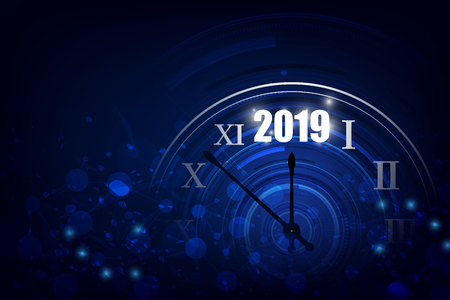 2019 Happy New Year banner with  round clock. Vector illustration.