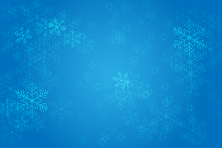 Christmas blue background with glowing snowflakes and bokeh. vertor illustration