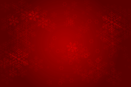 Christmas red background with glowing snowflakes and bokeh. vertor illustration Illustration
