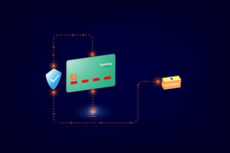 online payment security transaction via credit card. vector illustration
