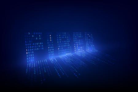 Fondo de tecnología óptica Firber. Los datos digitales como dígitos conectados entre sí y forman el símbolo Firber sobre fondo azul. Redes de internet de nueva generación. ilustración vectorial