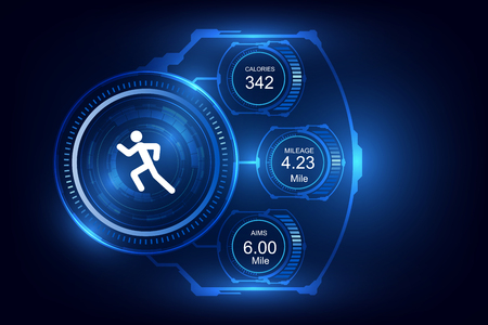 Wearable technology fitness tracker, monitor  running background