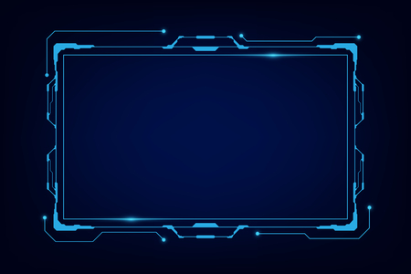 abstract tech sci fi hologram frame template design background Illustration