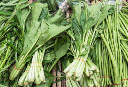 long bean: Chinese kale and yard long bean