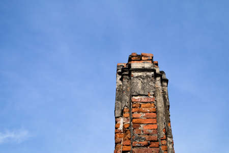 The old piece of bricks with blue sky Stock Photo