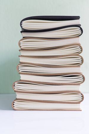 paperback: A stack of assorted paperback books with white background Stock Photo