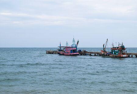 Fishing boats on the sea Stock Photo
