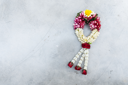 Close up jasmine garland on white background Stock Photo