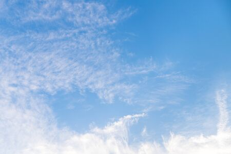 Blue sky with long cloud at the morning Stock Photo