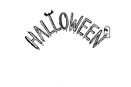 Escritura De Halloween, Calabaza, Murciélago, Dibujo Fantasma En ...