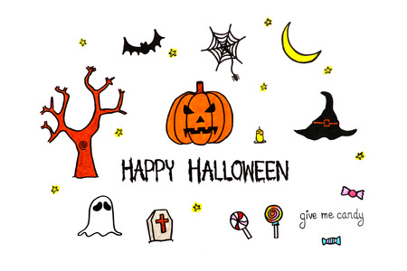 moon shadow: Happy Halloween text. Hand drawn pumpkin, bat, ghost, candy and spider web on white paper Stock Photo