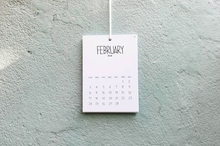Vintage calendar 2019 handmade hang on the wall, February 2019 Stock Photo