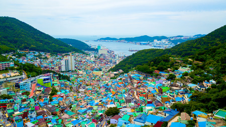 Aerial view of Gamcheon Culture Village located in Busan city of South Korea. 스톡 콘텐츠