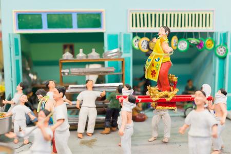 spiritualist: AYUTTHAYA THAILAND-NOV 16: Model display simulation spiritualist procession in Nine Emperor Gods Festival  on Norvember 16, 2014 at Taradnum- Tungbuvchom Ayuttaya Thailand