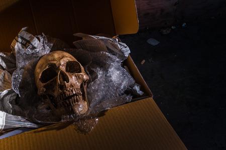 vengeful: Still life skull on air buble and Newspaper in box.  concept  \ Some bad guy send skull for threaten or some friend sand toy skull make it for joke.