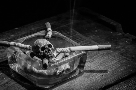 toxin: Still life skull and cigarette in ashtray. When people  smoke cigarette and get toxin in body look like go to way to dry. In the day  World No Tobacco Day please  quit or stop smoke cigarette for  good health.