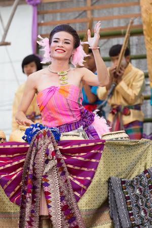 deed: Thailand June 26: Thai lady boy folk dance Ram Deed Hai in Phitakhon festival on june 26 ,2015 in loei province of thailand