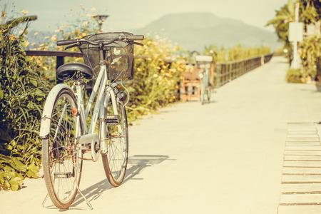 bicicleta: Parque de bicicletas en el camino cerca del cosmos.