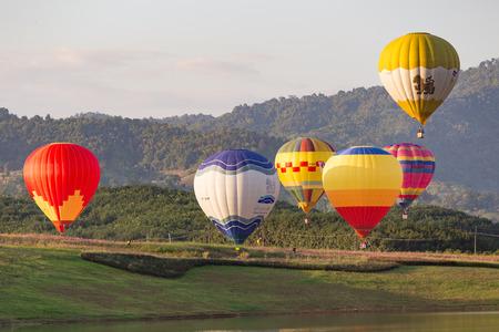 chiangrai: CHIANGRAI, THAILAND - NOV 29 2015 : Hot air balloon farm festival in Chiangrai, Thailand.
