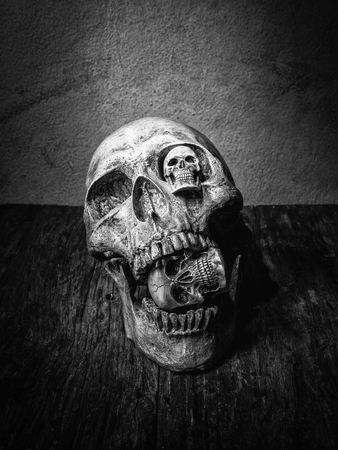 awry: Abstract face four of skull. Stock Photo