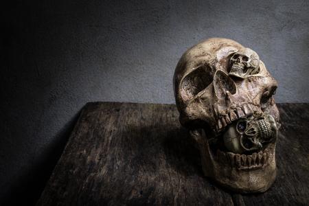 awry: Abstract face three of skull. Stock Photo