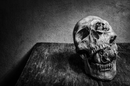 dirty teeth: Abstract face three of skull. Stock Photo