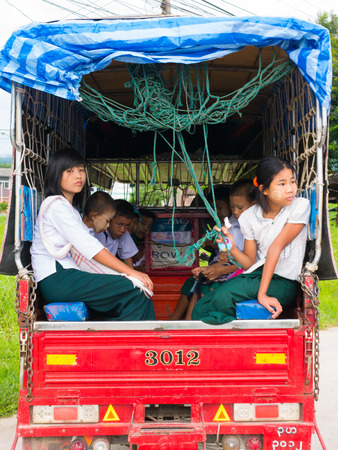 CHAING RAI, THAILAND - MAY 19 2017: Myanmar student on School bus. Editorial
