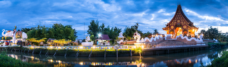 Panorama of thai temple in Twilight time.