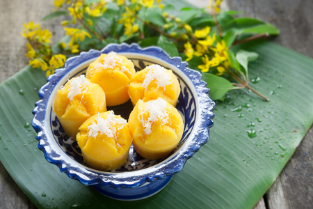 Steamed Pumpkin Cake (Thai Dessert) - Kanom Fak Thong. make from pumpkin, sugar, Flour, tapioca flour, grated coconut, salt and coconut milk. 版權商用圖片 - 101106300