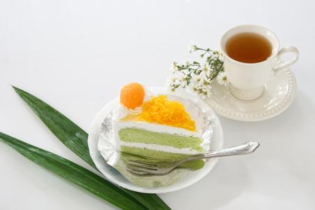 Gold Egg Yolk Thread Cakes and Pandan or thai Language call cake bai tey foi thong. 版權商用圖片 - 111019146