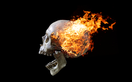 Head skull in flame on dark black background. the symbol of dead.