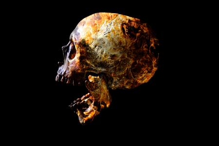 Head skull in flame on dark black background. the symbol of dead. Foto de archivo - 122610172