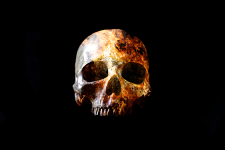 Head skull in flame on dark black background. the symbol of dead. Foto de archivo - 122610190