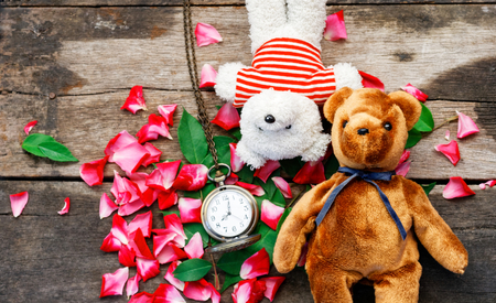 Two Toy bear doll have falling in love with Rose petals background in  valentine day. Foto de archivo - 122523814