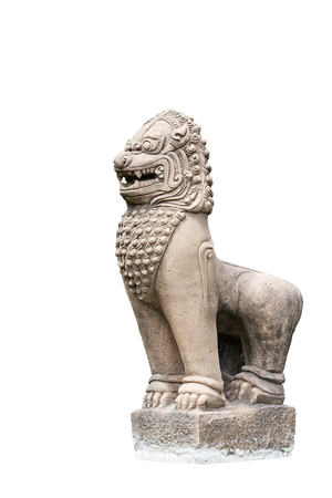 Statue of lion or singha style ancient asia on isolated background.