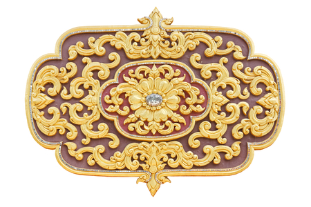 Golden lotus thai style pattern stucco design of native thai style on the Wall