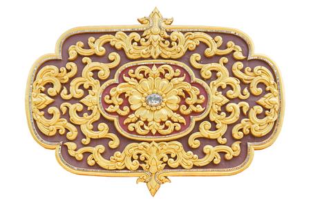 Golden lotus thai style pattern stucco design of native thai style on the Wall 版權商用圖片 - 122540948