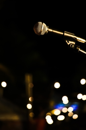 microphone in night event at department Stock Photo