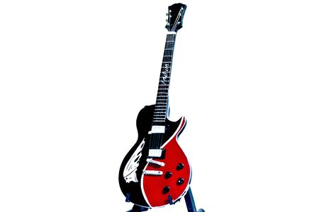 Red   Black Electric Guitar isolated picture
