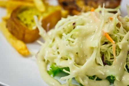 Salad with chicken steak photo