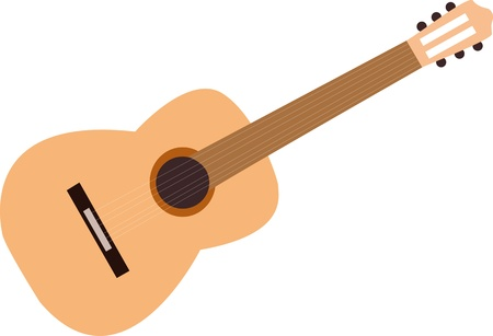 Mini Acoustic Guitar on White Background Vector