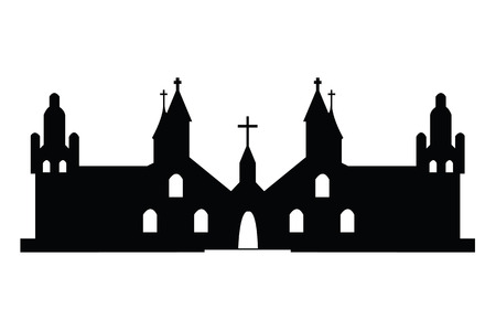 cupola: Christian churches silhouette on white background Illustration