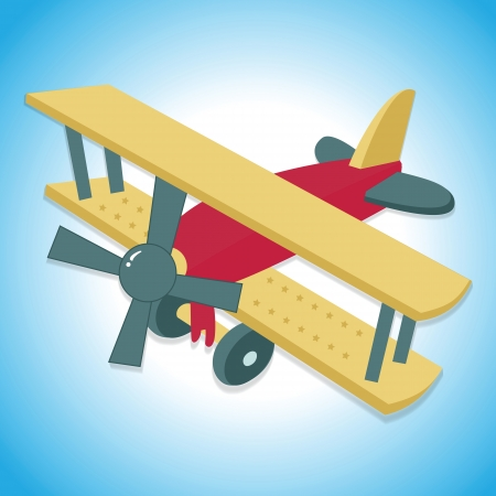 Flying vintage plane or biplane with blue background Vector