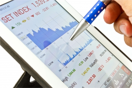 Stock chart on digital tablet for planning Stock Photo