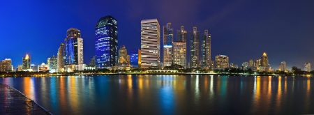 Panorama Cityscape at night Bangkok Thailand photo