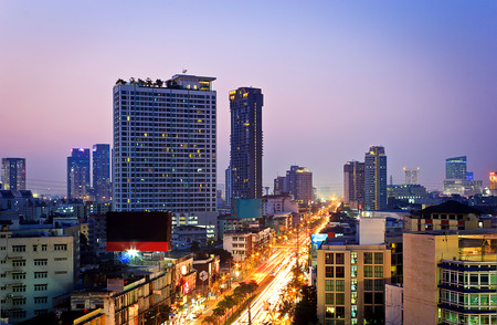 Long exposure photo to twilight cityscape, Bangkok Thailand photo