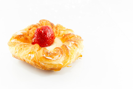 Denish pastry with fresh strawberry and crystal sugar